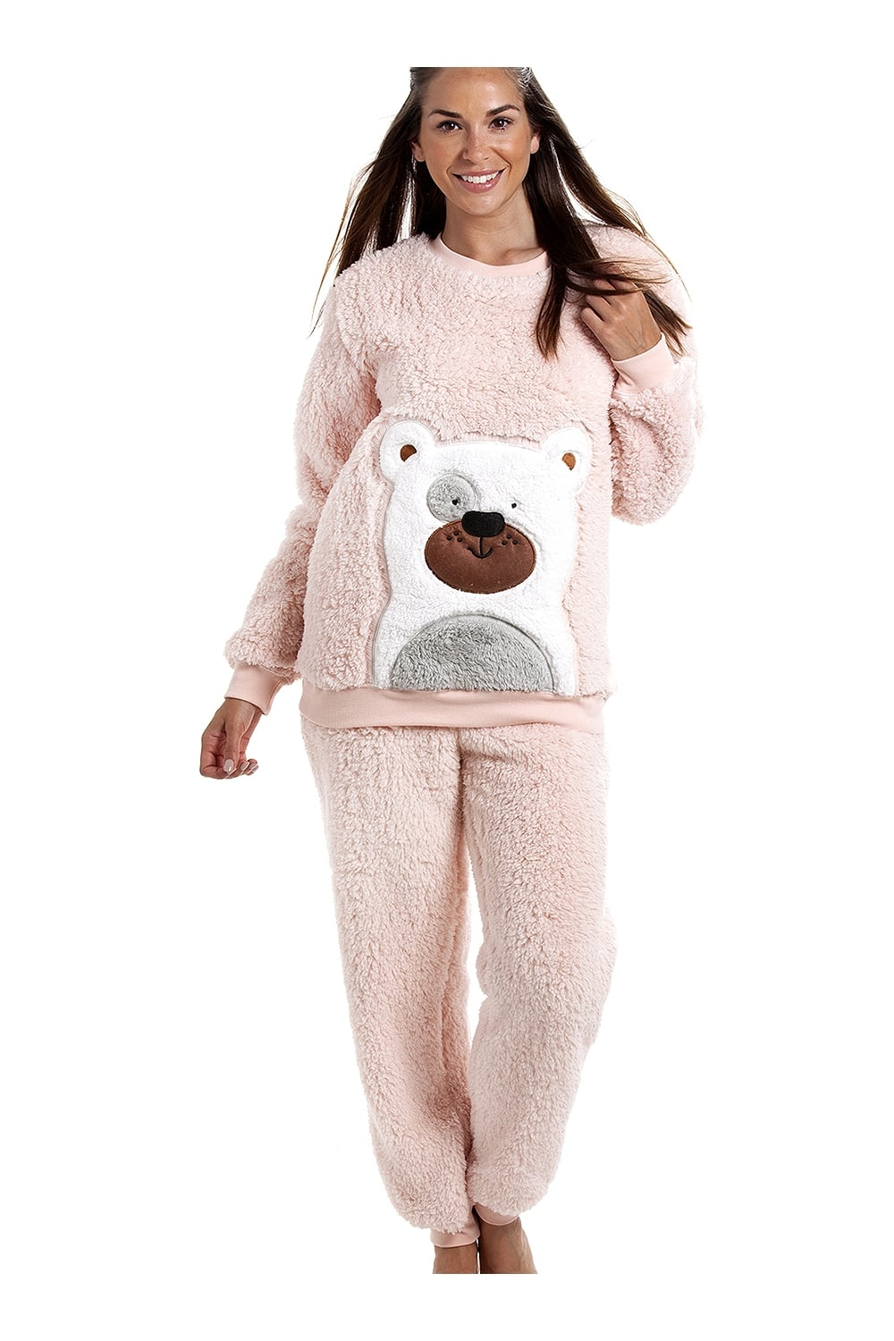 Camille Pink Soft Fluffy Bear Pyjama Set 15ec146f0