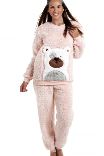 Camille Pink Soft Fluffy Bear Pyjama Set