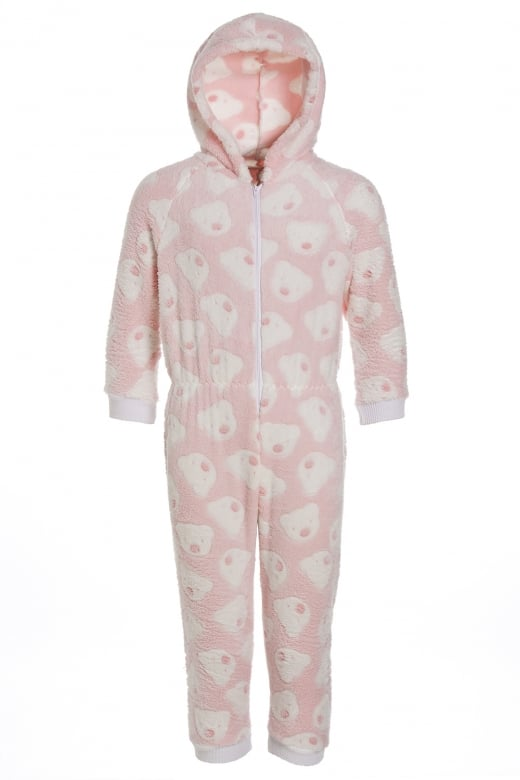 Camille Pink Super Soft Fleece Knitted In Bear Design Hooded Childrens Onesie