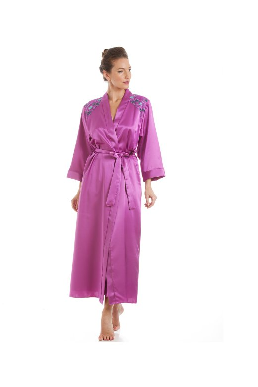 Camille Pink With Aqua Embroidery Satin Wrap