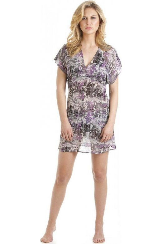 Camille Purple Abstract Print Kaftan