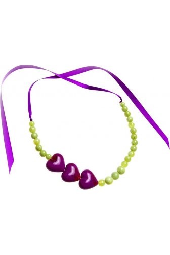 Purple And Green Heart Bead Ribbon Necklace