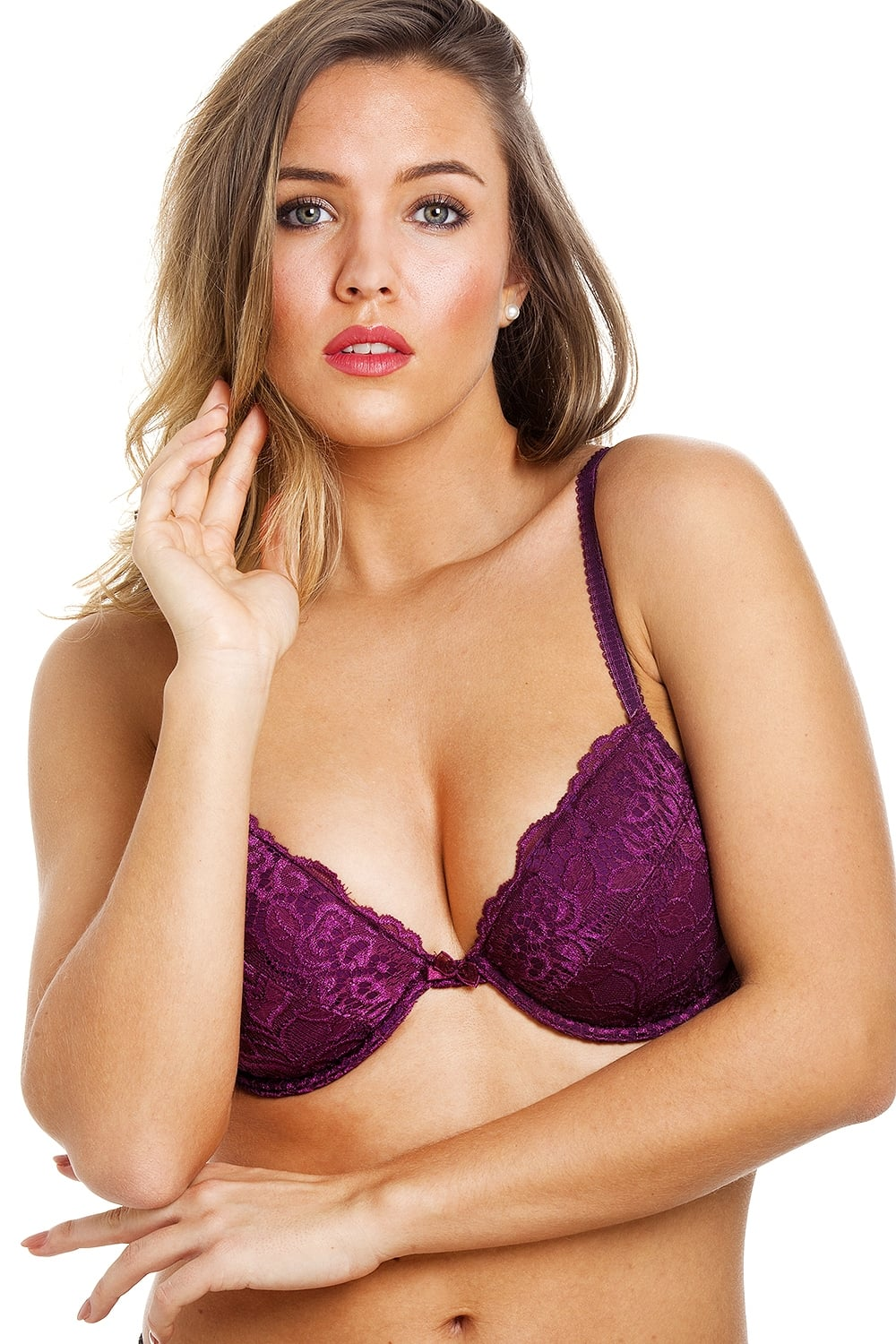09dbeabd4d Camille Purple Floral Lace Push Up Plunge Padded Underwired Bra