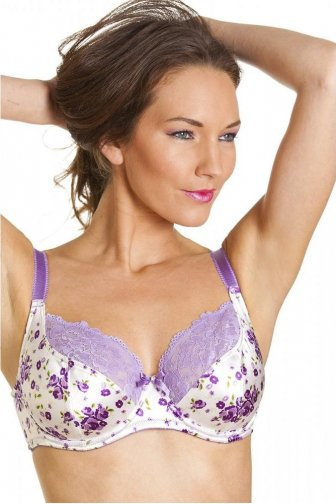 Purple Floral Print White Satin Underwired Bra