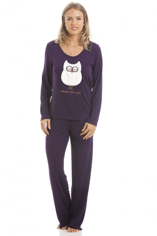 Camille Purple Full Length Pyjama Set With White Owl Motif