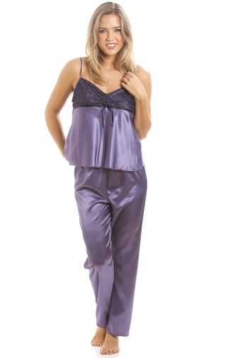 Purple Full Length Satin Pyjama Set