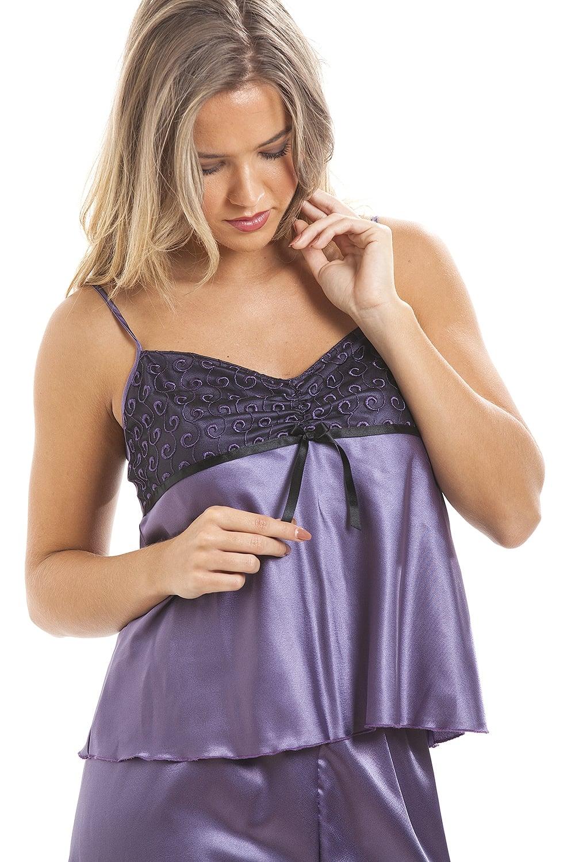 8b46c504aad14 Camille Purple Full Length Satin Pyjama Set