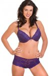 Camille Purple Padded Plunge Push Up Lace Bra