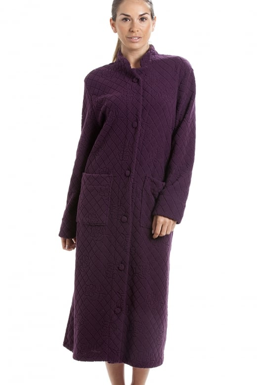 Camille Purple Soft Fleece Floral Full Length Button Up Housecoat