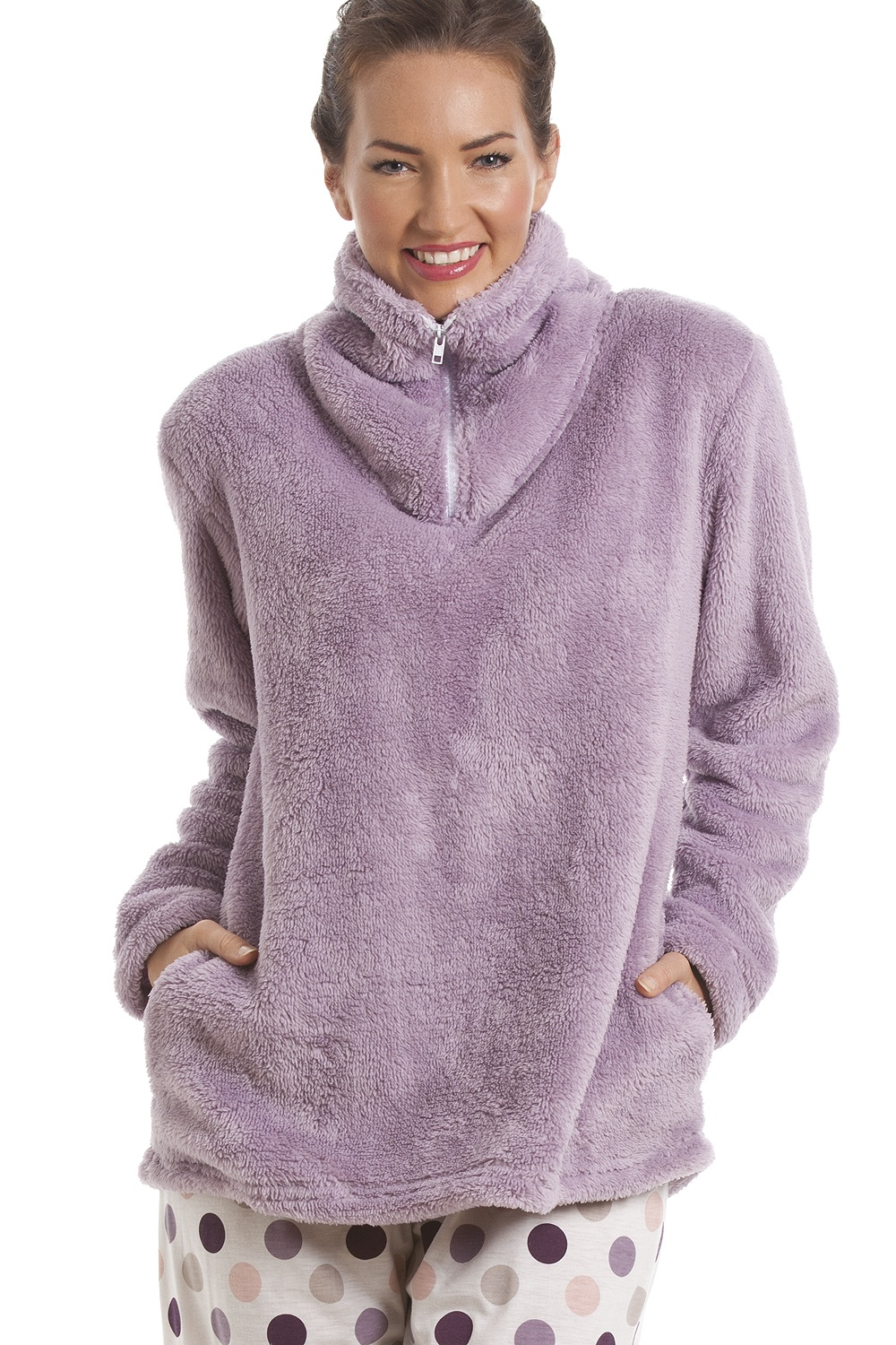 complimentary shipping new selection outlet store sale Purple Supersoft Fleece Top And Polka Dot Bottoms Pyjama Set