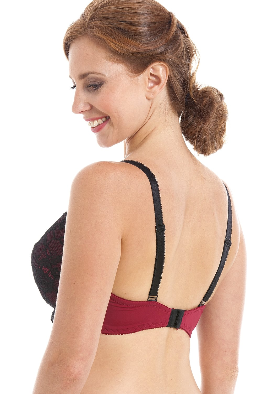 Camille Red And Black Floral Lace Overlay Underwired Padded Bra
