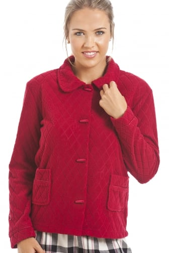 Red Floral Print Jacquard Fleece Bed Jacket