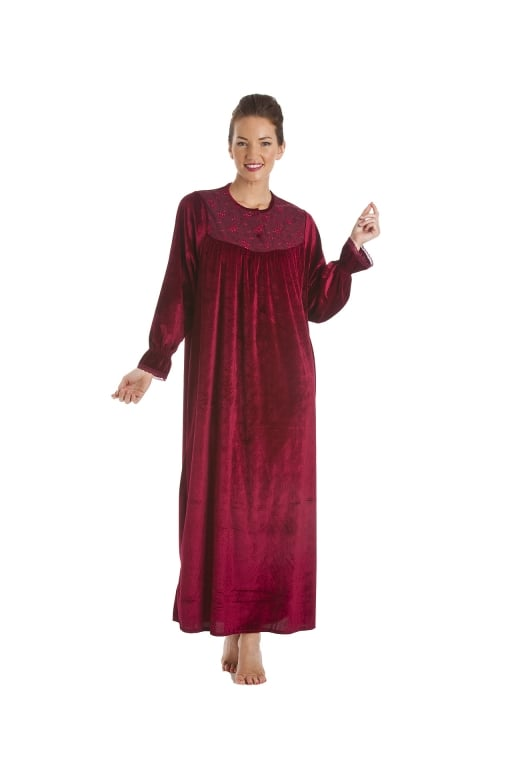 Camille Red Full Length Velour Nightdress