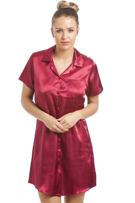 Camille Red Knee Length Satin Nightshirt