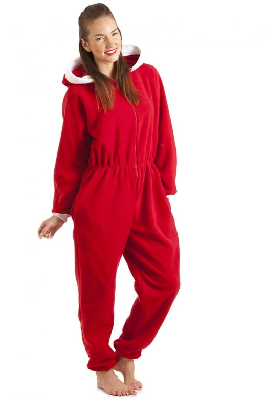 Camille Red Santa Fleece Hooded All In One Onesie Pyjama