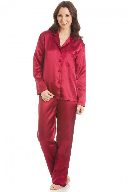 Camille Red Satin Full Length Pyjama Set