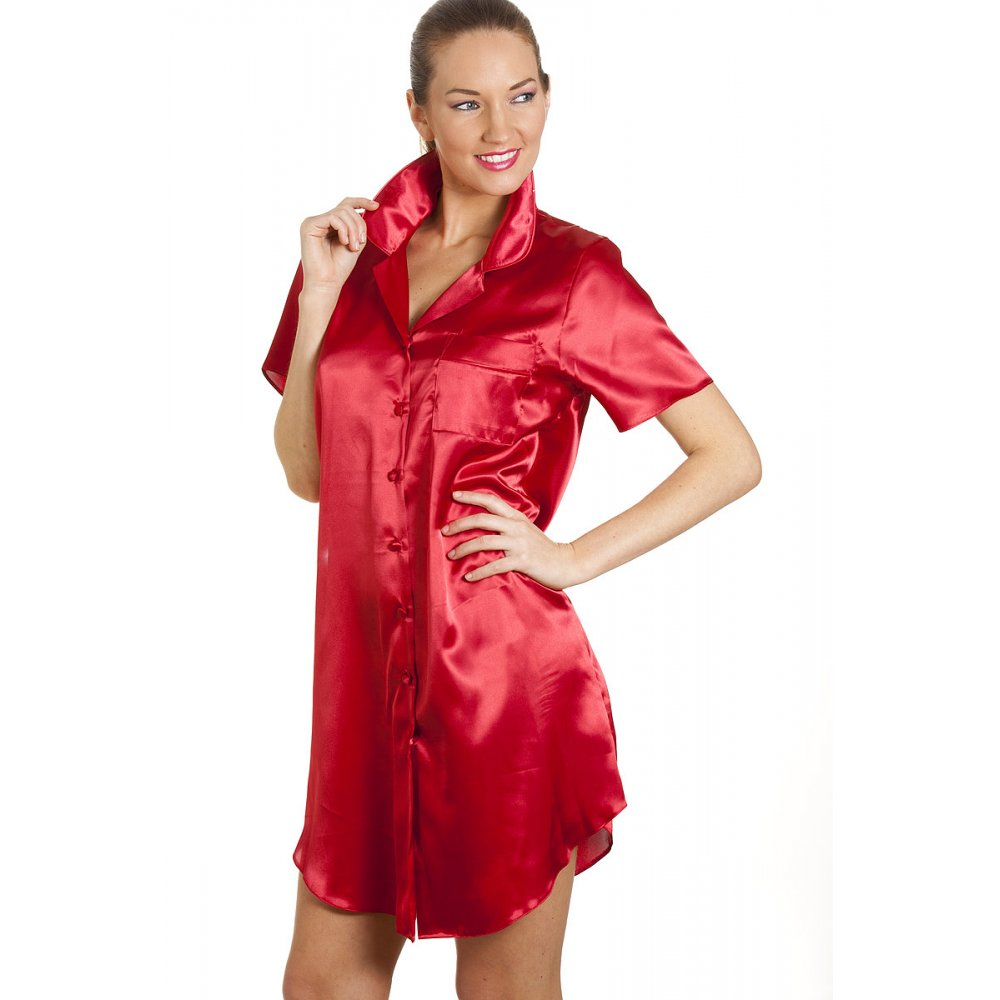 New Ladies Camille Red Womens Luxurious Satin Nightshirt ...