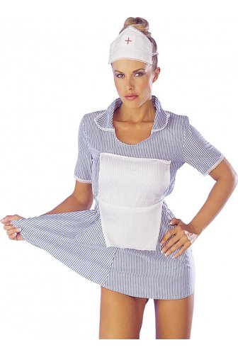 Sexy Seductive White & Blue Womens Nurse Fancy Dress Costume