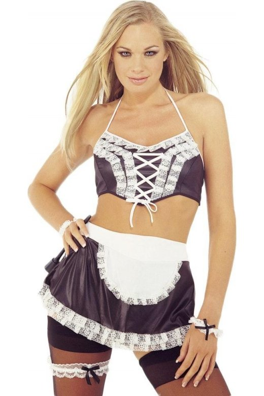 Camille Sexy Womens 5 Piece Black and White Maid Waitress Outfit Fancy Dress Costume