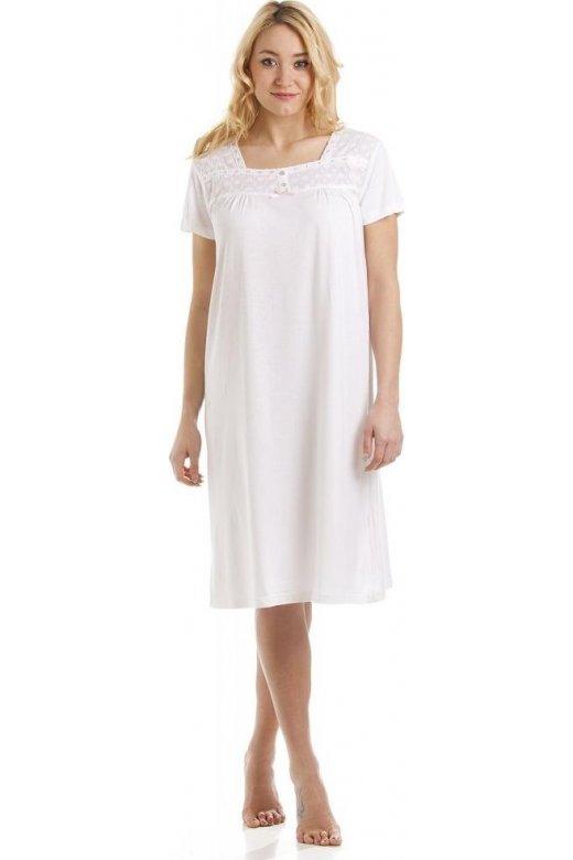 Womens Luxury White Cotton Modal Nightdress 01405dfa6b