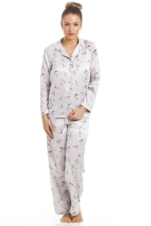 Camille Silver Humming Bird And Butterfly Print Full Length Satin Pyjama Set