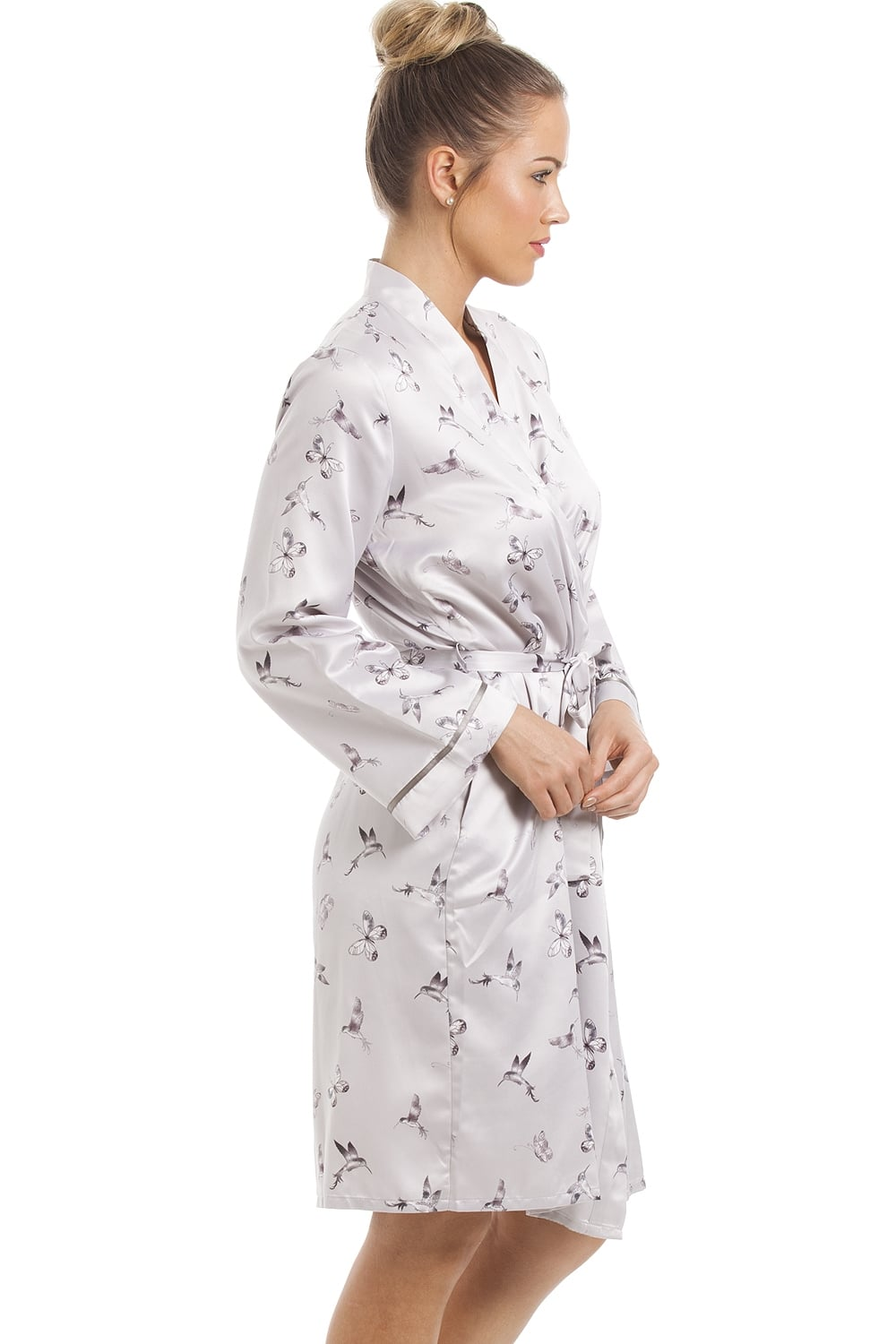 Camille Womens Silver Humming Bird And Butterfly Full Length Satin Pyjama Set