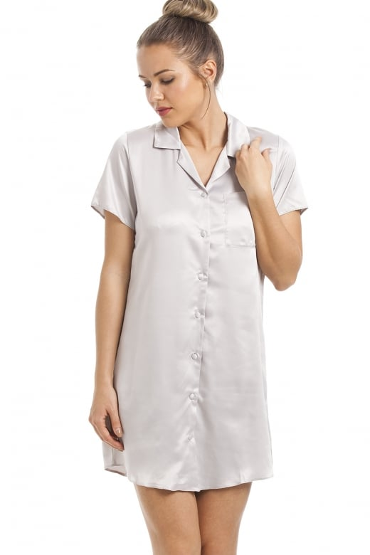 Camille Silver Knee Length Satin Nightshirt