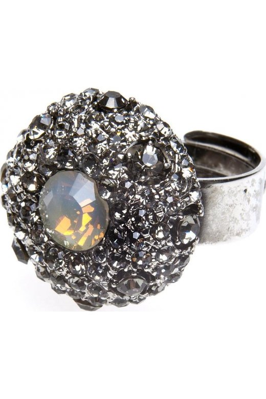 Camille Silver Tone Opaque Diamante Ring