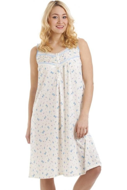 Camille Sleeveless Cotton Mix Lilac And Blue Floral Print Nightdress