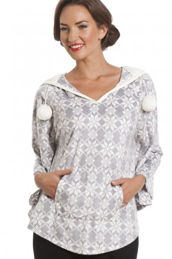 Snowflake Print Grey Hooded Fleece Poncho