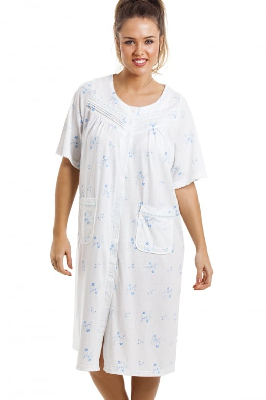 Camille Soft Cosy Knee Length Short Sleeve Blue Floral Button Front Nightdress