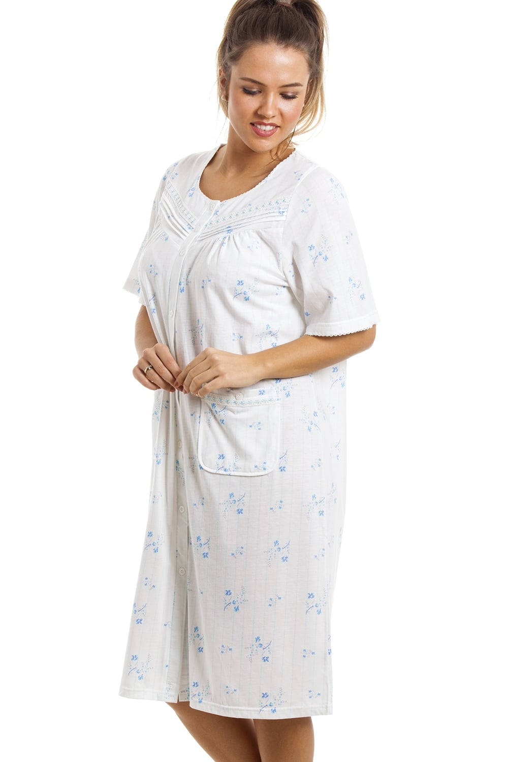 Camille Soft Cosy Knee Length Short Sleeve Blue Floral Button Front  Nightdress 30a7a39ea