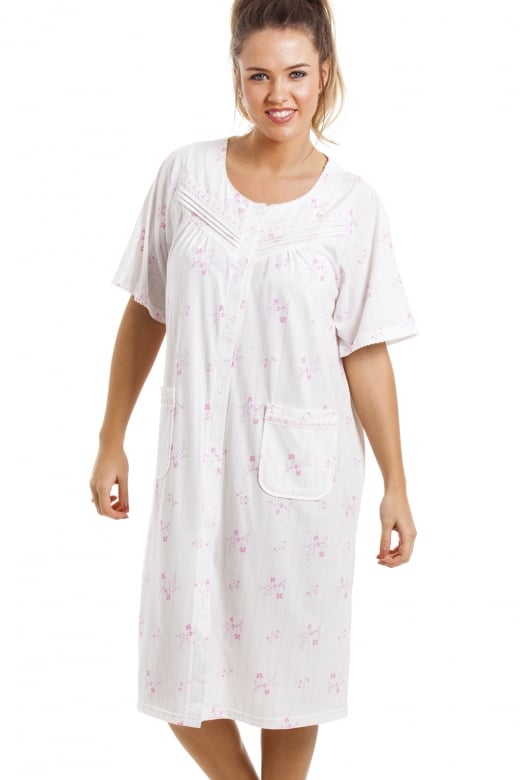 Camille Soft Cosy Knee Length Short Sleeve Pink Floral Button Front Nightdress