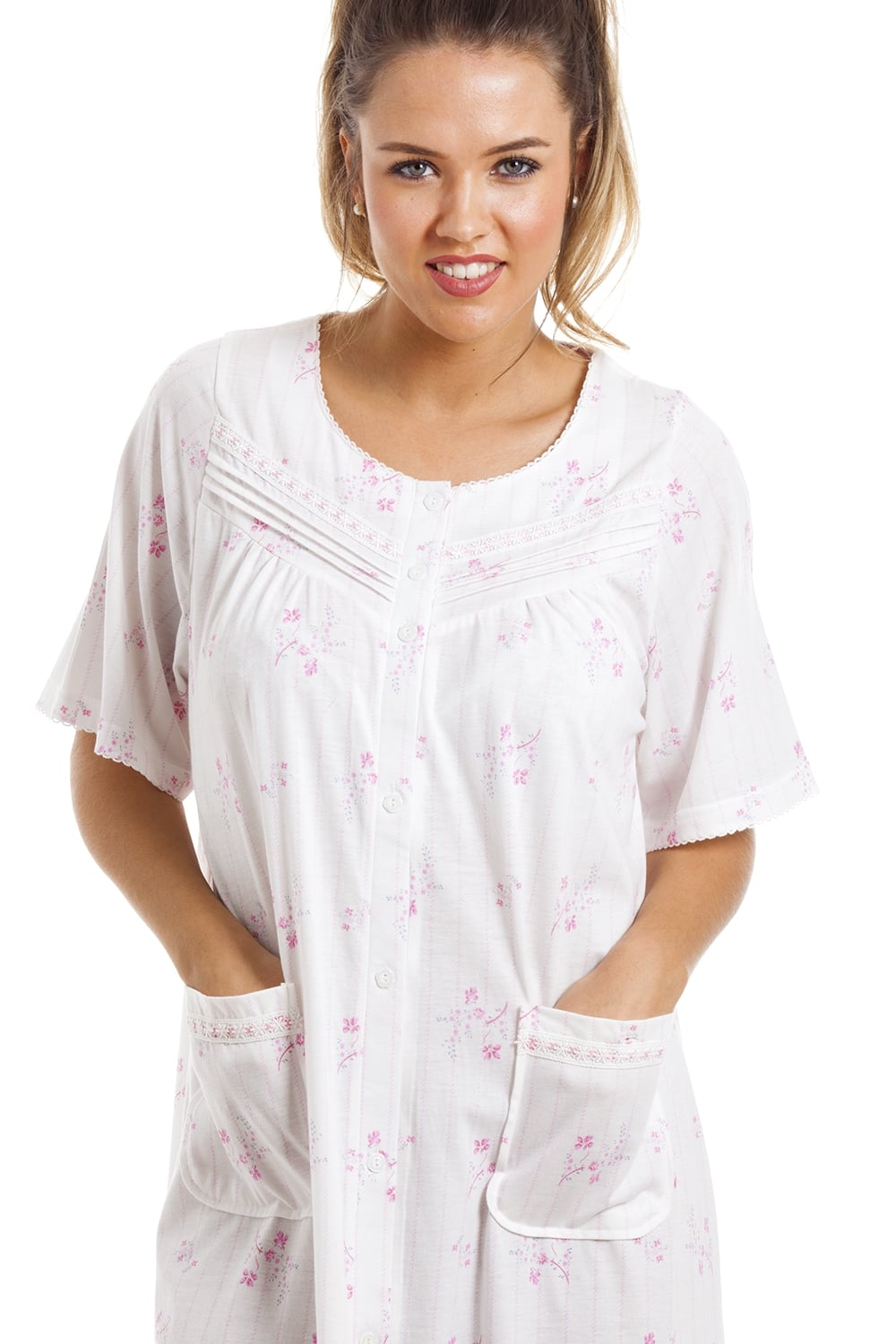 Camille Soft Cosy Knee Length Short Sleeve Pink Floral Button Front  Nightdress e5b412f29