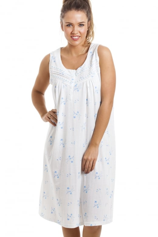Camille Soft Cosy Knee Length Sleeveless Blue Floral Nightdress