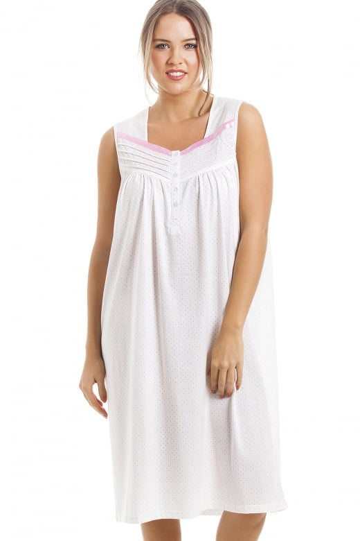 Camille Soft Cosy Knee Length Sleeveless Pink Polka Dot Nightdress