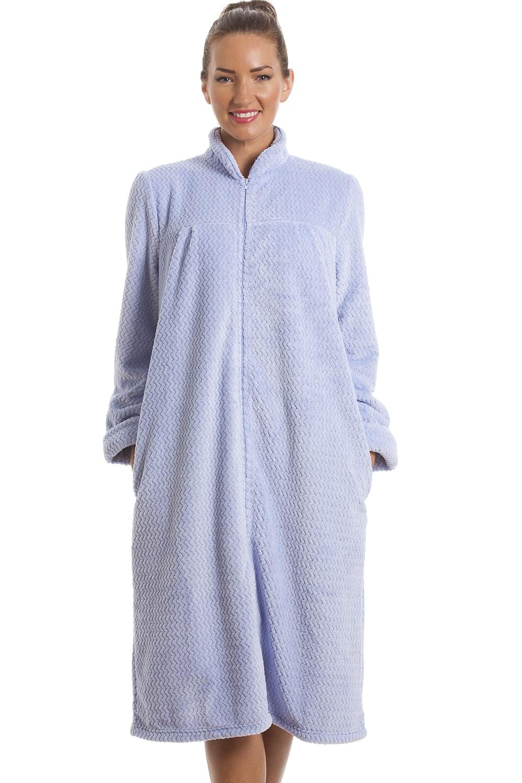 Soft Fleece Light Blue Zip Front House Coat