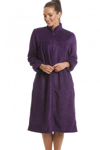 Soft Fleece Purple Zip Front House Coat