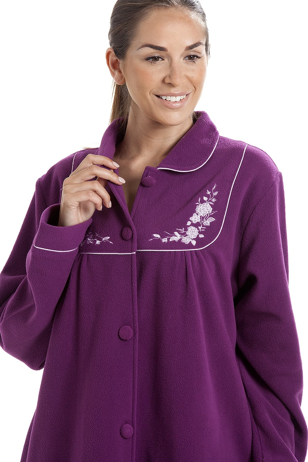 99fe192711 Camille Soft Warm Fleece Purple Button Up Housecoat
