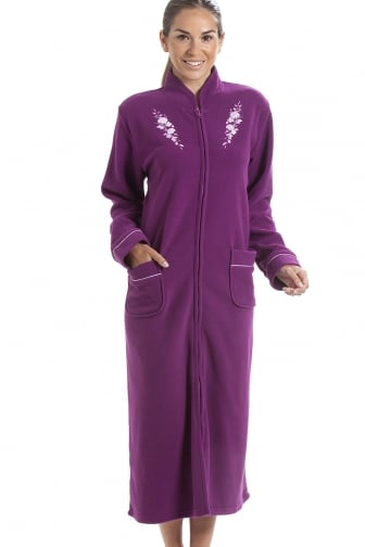 Soft Warm Fleece Purple Zip Up Front Housecoat