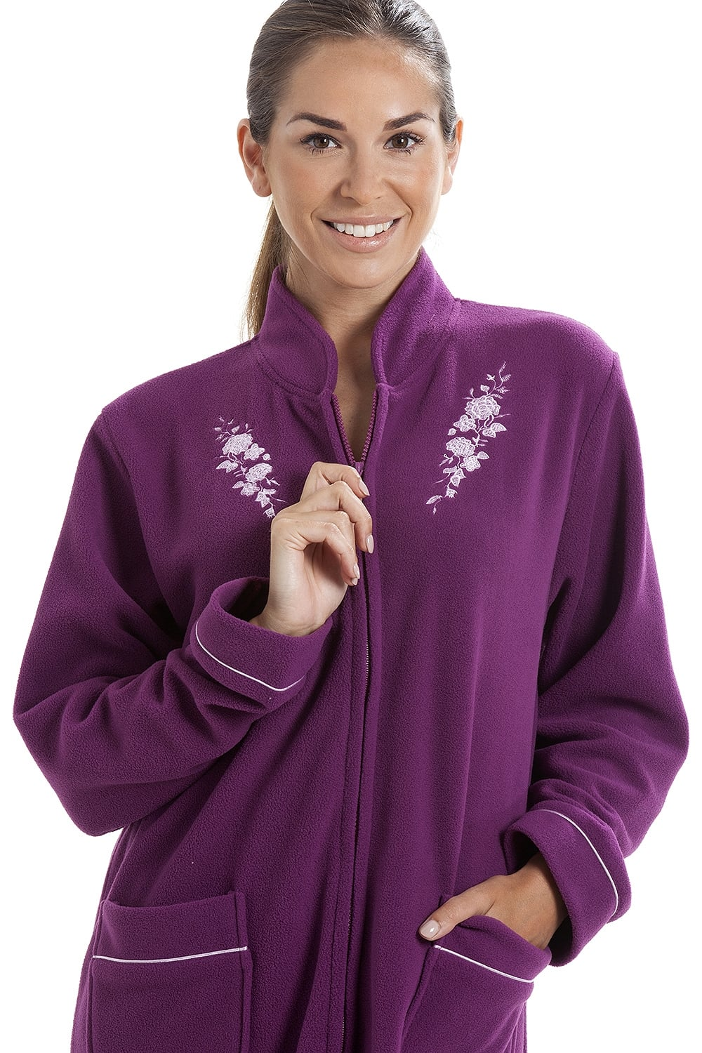a775c32a43 Camille Soft Warm Fleece Purple Zip Up Front Housecoat