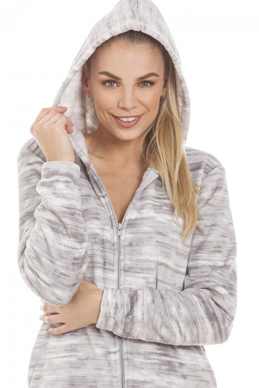 e54063041ed5d Camille Speckled Grey Supersoft Fleece Hooded Onesie