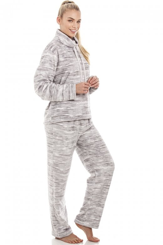 5513eb5206958 Camille Speckled Grey Supersoft Fleece Pyjama Set