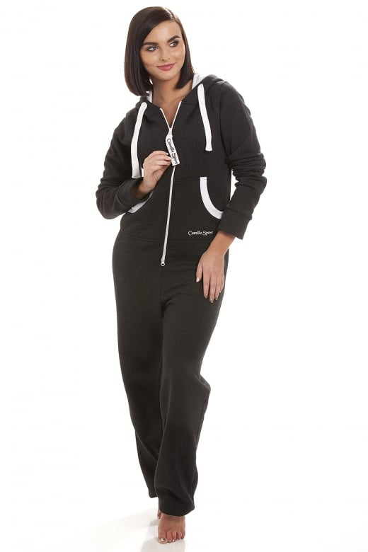 Camille Sport Womens Black & White Jumpsuit Onesie