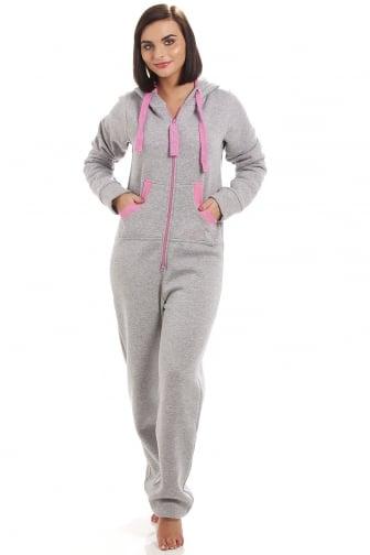 6198cf4fffa Camille Sport Womens Grey   Pink Jumpsuit Onesie