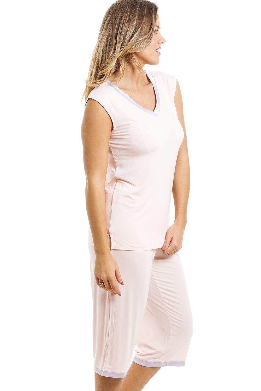 3becc1e6cb Camille Stylish Cropped Leg Sleeveless Peach Pyjama Set