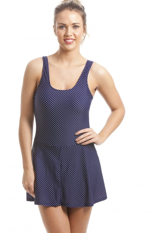 Camille Stylish Figure Flattering Navy Polka Dot Skirted Swimsuit