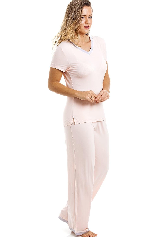 aa58da860e Camille Stylish Full Length Short Sleeve Peach Pyjama Set
