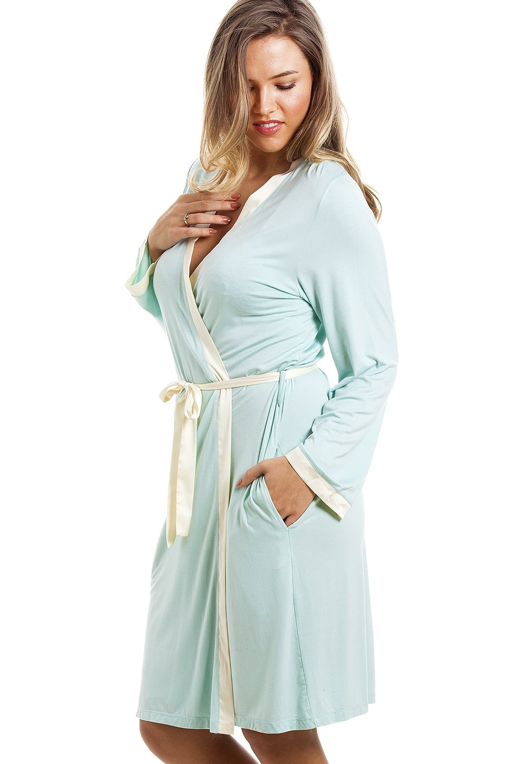 2430ec57d3 Camille Stylish Knee Length Long Sleeve Mint Green Dressing Gown