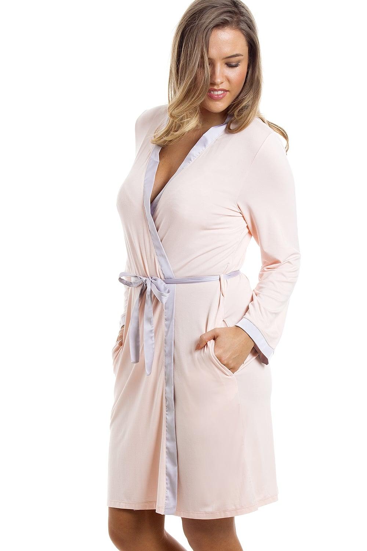 Stylish Knee Length Long Sleeve Peach Dressing Gown